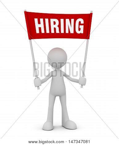 holding hiring 3d illustration isolated on white background