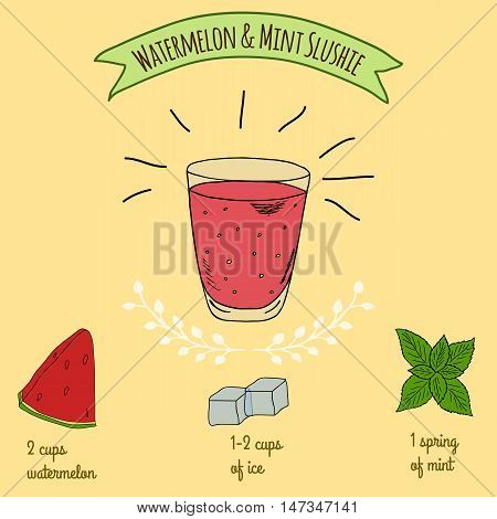 Hand drawn sketch illustration. Recipe and ingredients of healthy and energy drink for restaurant or cafe. Vegan Detox drinks. Gluten free drinks. Vegetarian Smoothie Recipe. Hydration Juice. Watermelon juice.