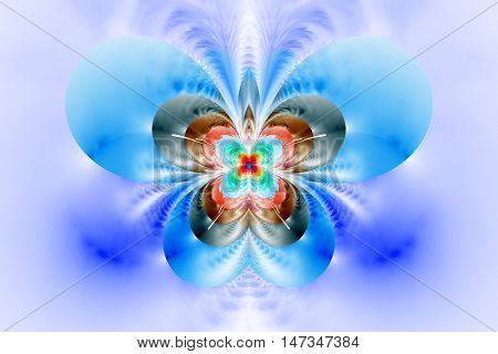 Abstract exotic flower on white background. Symmetrical pattern in bright red blue and grey colors. Fantasy fractal design