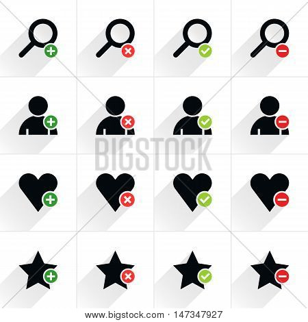 16 additional sign flat icon with gray long shadow. Black sign with green and red on white background. Tidy clean simple solid plain style. Vector illustration web internet design element 8 eps