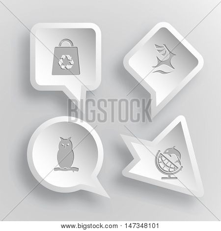 4 images: bag, deer, owl, globe and shamoo. Nature set. Paper stickers. Vector illustration icons.