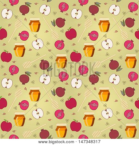 Rosh Hashana seamless pattern. Vector background for gift package decoration, wrapping paper, greeting card with Jewish New Year symbols - Apple, Pomegranate, Honey Jar & Dipper. Editable