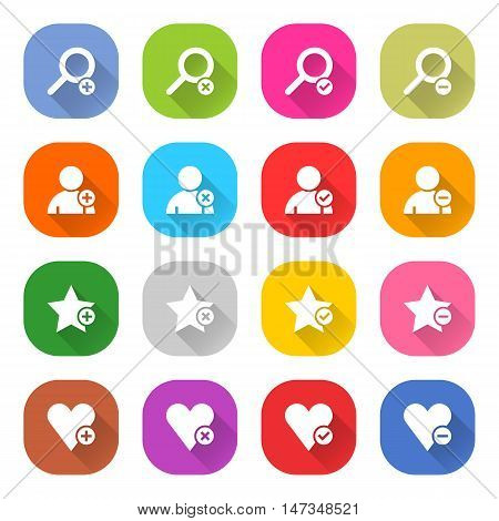 Flat addition icon 16 set rounded square web button on white background. Simple minimalistic mono long shadow style. Vector illustration internet design graphic element 10 eps