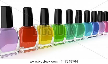 Colored Nail Polish Bottels 3D Render On White Background