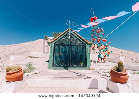 Little Shrine With Color Pennants In Catamarca, Argentina