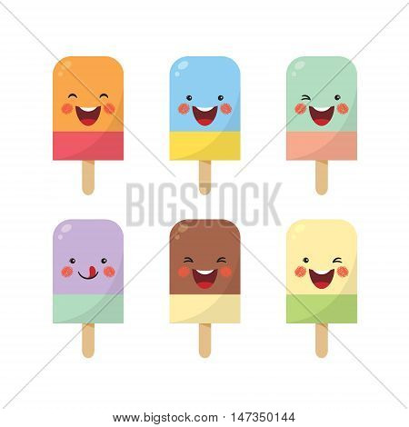Vector set of double color popsicles. Cute cartoon popsicles with different expression isolated on white background.