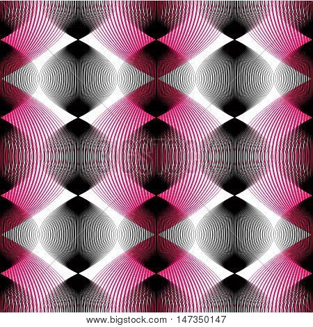Colorful abstract seamless pattern with overlapping geometric shapes. Vector symmetric lined transparent backdrop.