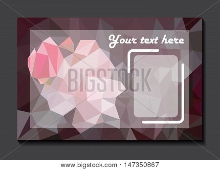 Invitation card on the rose mosaic background
