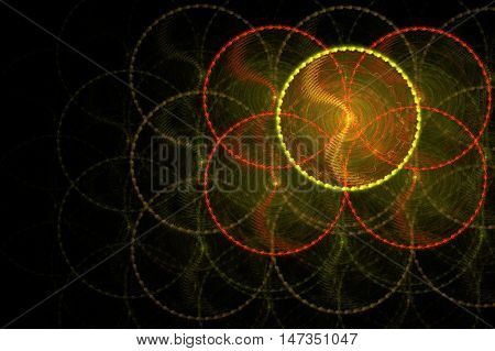 spifractal swirling yellow and red, and green circles in the dark blur on a black backgroundnning circles in the dark