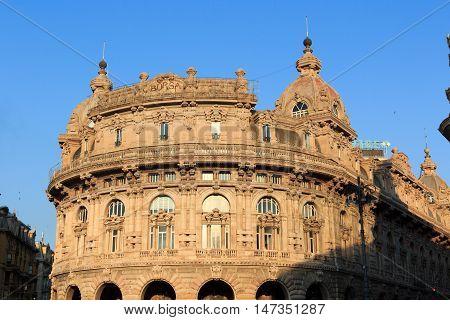 Genoa, Italy - June 24, 2016: Palace Palazzo della Nuova Borsa Valori at Piazza de Ferrari. The historic building is a stock exchange in Italy.