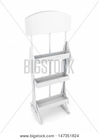 Rack For Products Isolated On White Background. 3D Rendering