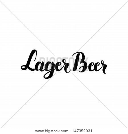 Lager Beer Handwritten Lettering. Vector Illustration of Ink Brush Calligraphy Isolated over White Background. Hand Drawn Cursive Text.