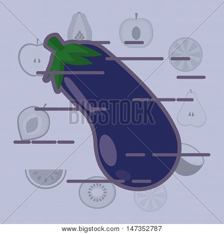 eggplant with healthy food icons image vector illustration design