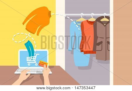 Girl buys casual warm winter clothes on website using computer. Online shopping flat vector banner. Web store marketing concept. E-commerce background. Electronic commerce illustration