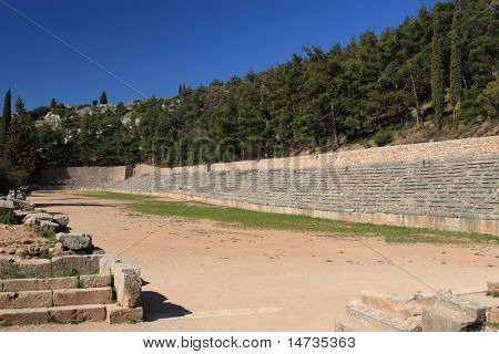 stadium, archeological areal in Delphi, Peloponnese, Greece, Europe