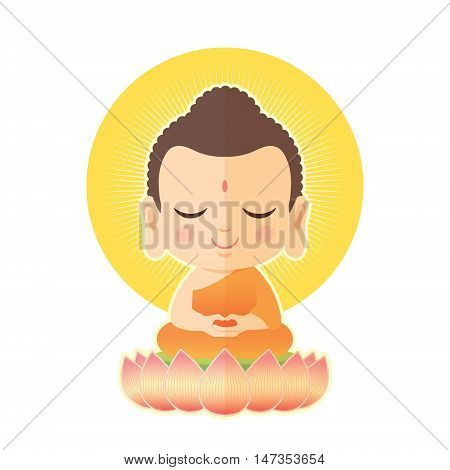 Buddha sitting on lotus. Cute Buddha cartoon vector illustration isolated on white background.