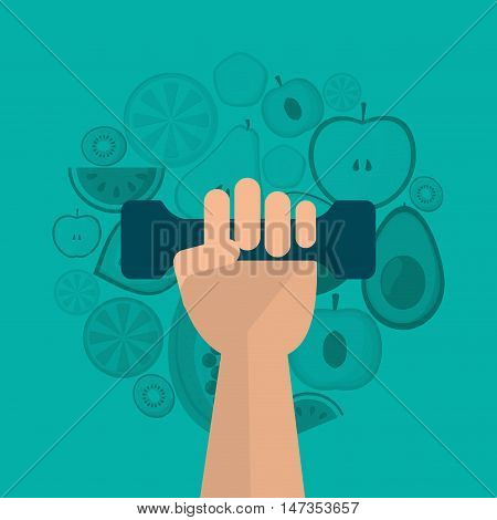 assorted healthy food and hand holding dumbell icons image vector illustration design