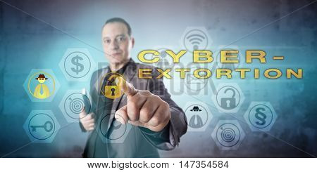 Busy looking private detective with kind face investigating CYBEREXTORTION in a vigorous gesture. Information technology concept for a threat to exploit a security leak and demands for ransom money.