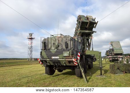 LAAGE GERMANY - AUG 23 2014: German army mobile MIM-104 Patriot surface-to-air missile (SAM) system.