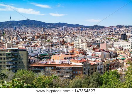 Cityscape / panoramic view of Barcelona and the Tibidabo Mount with the television tower Torre de Collserola and the Expiatory Church of the Sacred Heart of Jesus on it