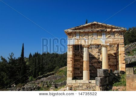 The ancient Athenians' Thesaurus in the archaeological site of Delphi in Greece