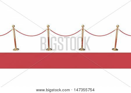Red carpet with gold barriers isolated on white, view side. 3d illustration.