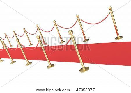 red event carpet isolated on a white background with gold barrier. 3d illustration.