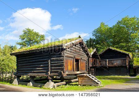 OSLO, NORWAY - AUGUST 29, 2016: The Hallingdal Farm Stead in Norwegian Folk Museum in Oslo.