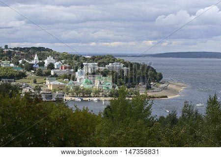 May 30 2014: Photo of bankment of Volga river in Cheboksary. Chuvashia. Russia.
