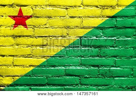 Flag Of Acre State, Brazil, Painted On Brick Wall
