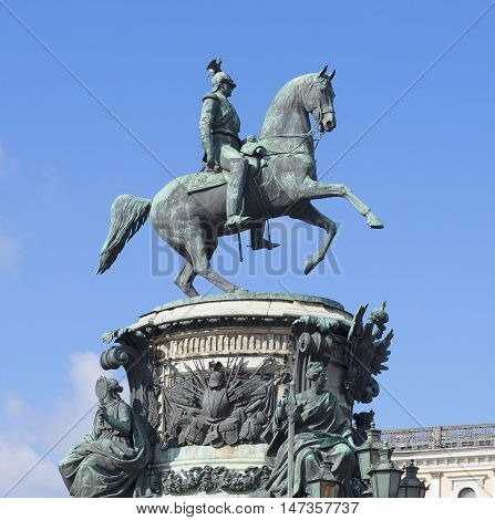 SAINT PETERSBURG, RUSSIA - JULY 25, 2015: A monument to Tsar Nicholas I on background of blue sky. Historical landmark of the city Saint Petersburg