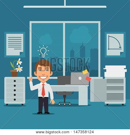 Vector Illustration, Businessman in Office Came Up With Idea, Format EPS 8