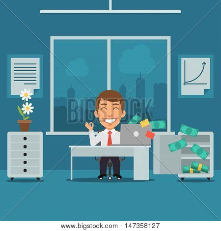 Vector Illustration, Businessman Sitting in Office and Rejoices Monetary Gain, Format EPS 8