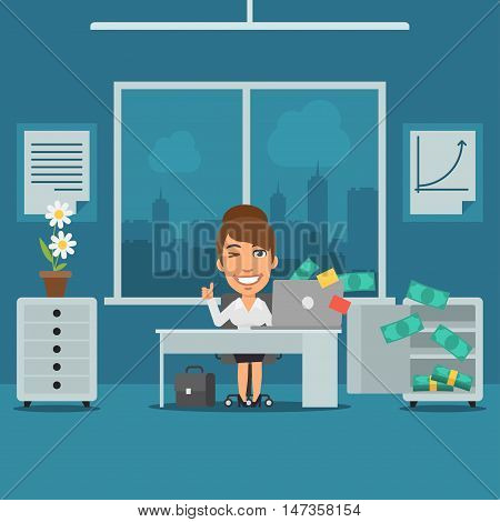 Vector Illustration, Businesswoman Sitting in Office and Rejoices Monetary Gain, Format EPS 8