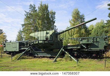 LENINGRAD REGION, RUSSIA - SEPTEMBER 14, 2015: 180-mm gun mount TM-1-180 in a firing position. Fort