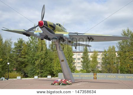LENINGRAD REGION, RUSSIA - SEPTEMBER 14, 2015: Soviet attack aircraft IL-2. The monument to the defenders of the Leningrad sky in Swan