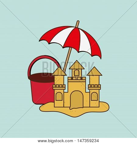 flat design sandcastle with vacation travel icons image vector illustration