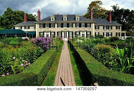 Manchester Village Vermont - September 18 2014: East Front of Robert Todd Lincoln's 1905 Georgian Revival Summer home and its formal gardens