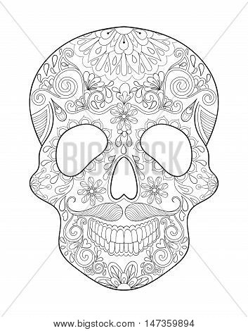 Zentangle stylized Skull for Halloween. Freehand sketch for adult anti stress coloring page and book with artistically doodle elements. Ethnic ornamental patterned vector illustration for tattoo, t-shirt or prints