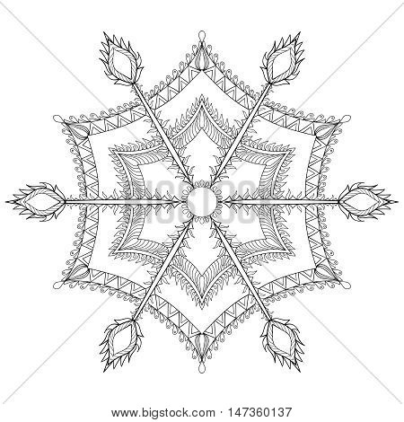 Zentangle stylized winter snowflake for Christmas, New Year. Freehand artistic ethnic vector illustration for adult coloring pages, art therapy, bohemian tattoo, t-shirt patterned print, posters, logo