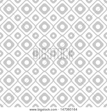 Geometry seamless pattern with concentric circles and squares. Grey and white seamless pattern. Vector illustration. Abstract background.