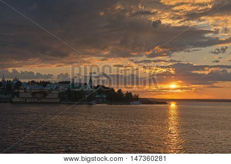 Sunset on the Volga river in Cheboksary bay