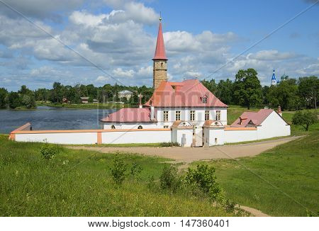 GATINA, RUSSIA - JULY 05, 2015: Priory Palace, cloud july afternoon. Historical landmark of the city Gatchina
