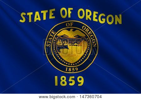 Flag of Oregon is a state of United States. 3D illustration