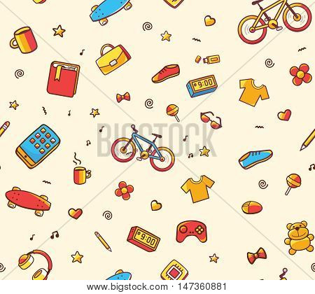 Vector festive bright seamless pattern with different sport leisure goods on light background. Doodle style. Hand drawn line art design for web site advertising banner poster board print