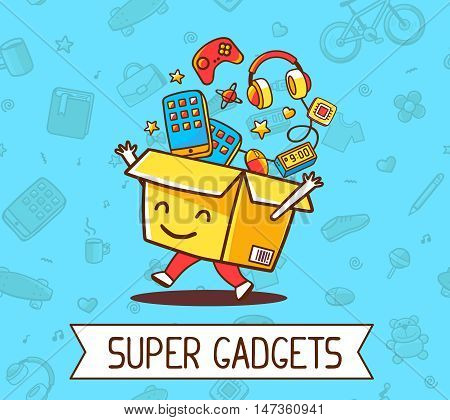Vector Illustration Of Colorful Joy Character Shopping Box With Electronics, Gadget Inside On Blue P