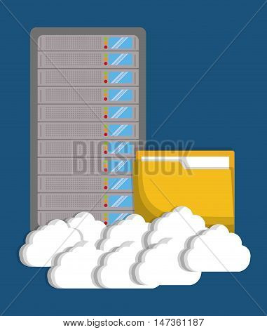 data base with cloud and file icon. Data center and web hosting theme. Colorful design. Vector illustration