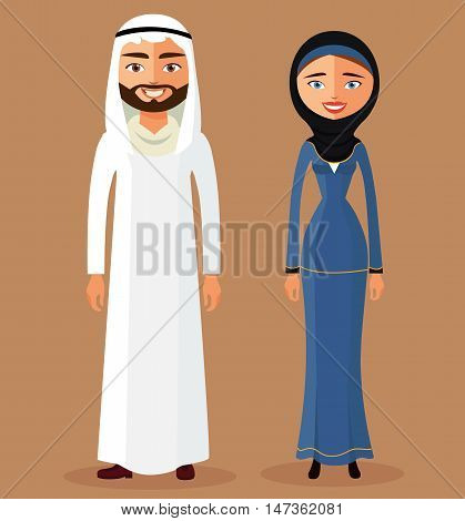 Cute cartoon illustration of a young Arab lady and Arab man flat cartoon vector illustration. Eps10. Isolated on a white background.
