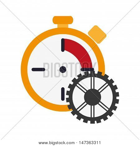 flat design chronometer and gear  icon vector illustration