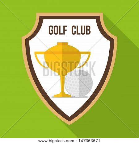 Ball and gold trophy cup inside shield icon. Golf sport and hobby theme. Colorful design. Vector illustration